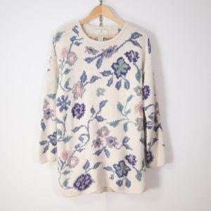 vintage hand knit long pastel floral silk sweater